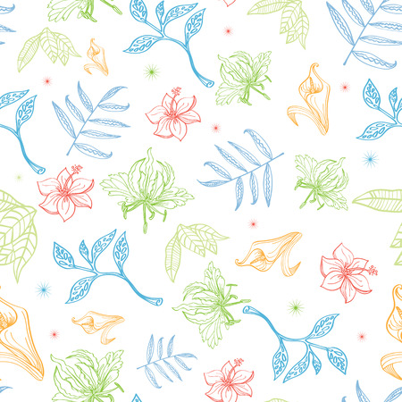 pastel drawing: Vector Tropical Pastel Drawing Flowers Seamless Pattern graphic design