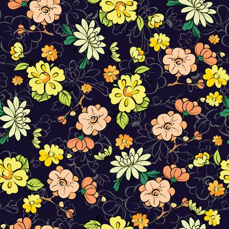 ladylike: Vector Dark Background Kimono Gold Flowers Seamless Pattern graphic design