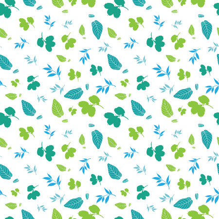 Blue Green Spring Leaves Silhouettes Seamless Pattern graphic design Иллюстрация