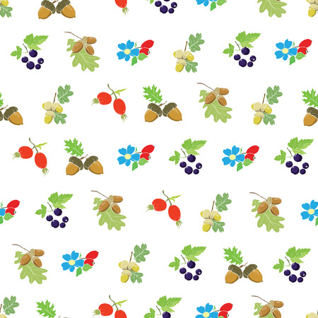 sienna: Colorful Autumn Berries Nuts Seamless Pattern graphic design