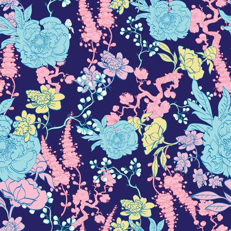 Dark Blue Yellow Pink Kimono Floral Seamless Pattern graphic design Stock Vector - 42848376