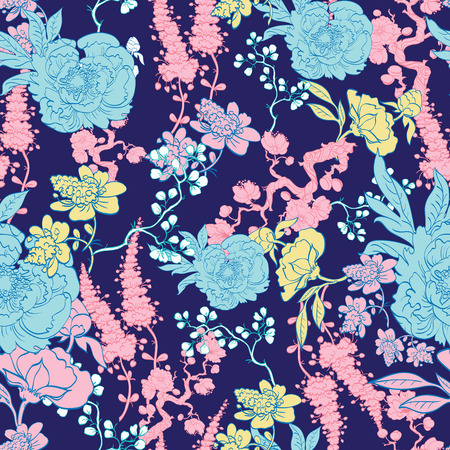 Dark Blue Yellow Pink Kimono Floral Seamless Pattern graphic design Illustration