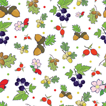 sienna: Forest Berries Nuts Seamless Pattern graphic design Illustration