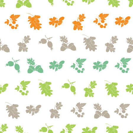 Forest Berries Nuts Silhouettes Seamless Pattern graphic design