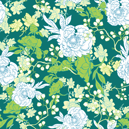 the womanly: Oriental Green Garden Seamless Pattern graphic design