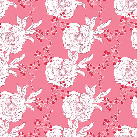 Pink Red Diagonal Oriental Peonies Seamless Pattern graphic design