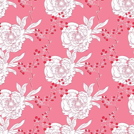 Roze Rood Diagonale Oosterse Pioenen Naadloze Patroon van grafisch ontwerp