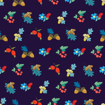 dark blue:  Dark Blue Colorful Berries Nuts Seamless Pattern graphic design Stock Photo