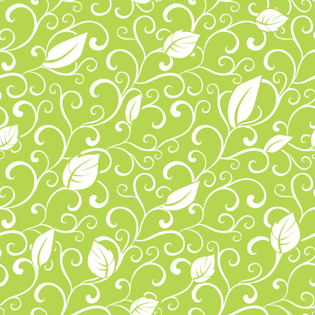 green swirl: Green Swirl Branches Leaves Seamless Pattern graphic design