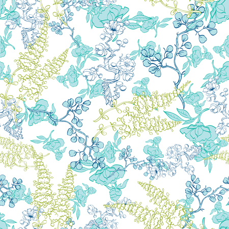 lineart:  Kimono Plants Lineart Seamless Pattern graphic design Illustration