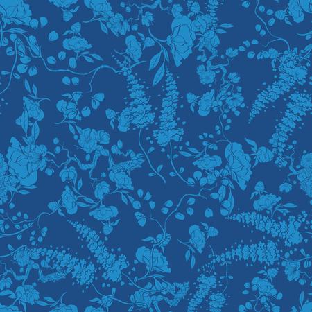 Royal Blue Kimono Floral Texture Seamless Pattern graphic design Ilustração