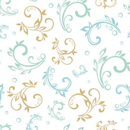 floral swirls:  Vintage Green Blue Beige Floral Swirls Seamless Pattern graphic design