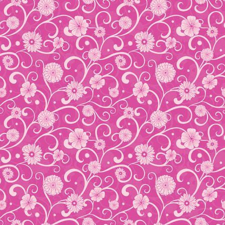 Vintage Pink Flowers on Swirly Braches Seamless Pattern graphic design