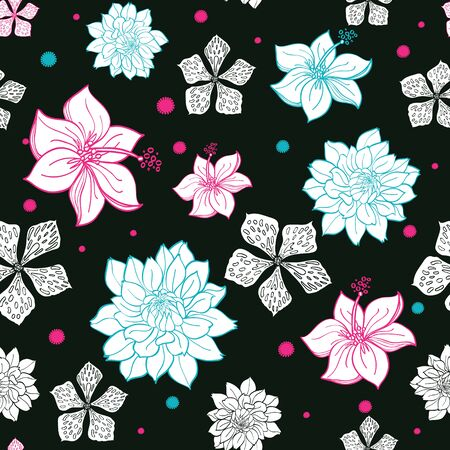 Black Pink Blue Floral Drawing Seamless Pattern graphic design