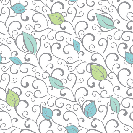branches with leaves:  Gray Green Blue Swirl Branches Leaves Seamless Pattern graphic design