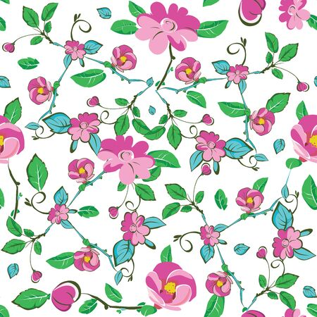 Pink Blue Green Flowers Leaves Seamless Pattern graphic design Illustration