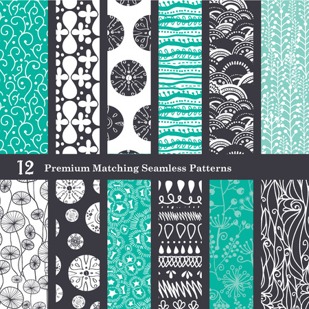 algas marinas: Negro Sea Foam Verde 12 Set Seamless Patterns diseño gráfico