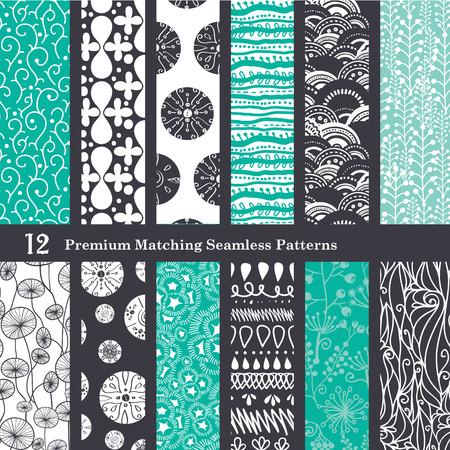 tribales: Negro Sea Foam Verde 12 Set Seamless Patterns diseño gráfico