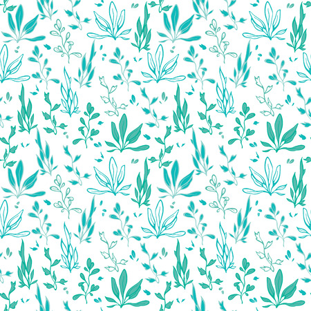 raw material: Blue Green Hand Drawn Seawedd Underwater Seamless Pattern graphic design
