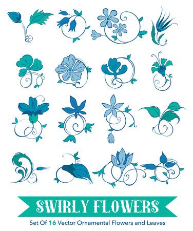 assemblage: Rosette, tulip, flower, turkish, Turkey, swirl. Assemblage of 16 Hand Drawn Swirly Curly Turkish Flowers and Leafs graphic design Illustration
