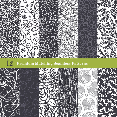 organic plants: Vector Black White Natural Flat 12 Set Seamless Pattern graphic design