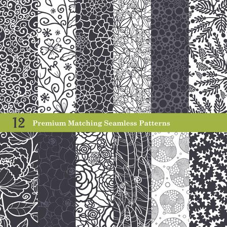 Vector Black White Natural Flat 12 Set Seamless Pattern graphic design