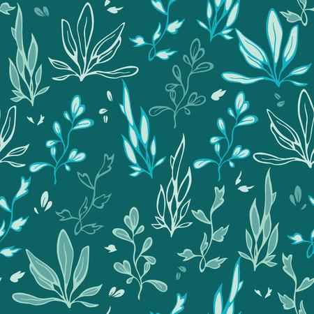 cadet blue: Vector Dark Green Seaweed Underwater Plants Seamless Pattern graphic design Illustration
