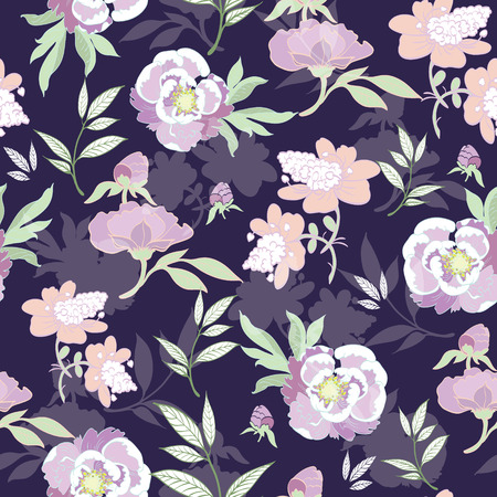 the womanly: Vector Pastel Kimono Flowers on Black Seamless Pattern graphic design