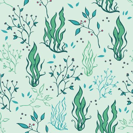 cadet blue: Vector Hand Drawn Seaweed Plants Ocean Life Seamless Pattern graphic design
