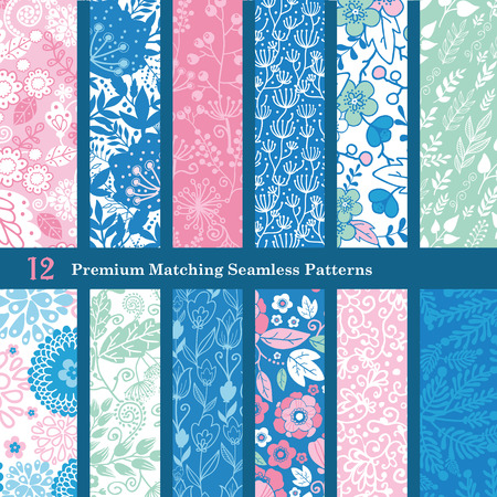 Vector Pink Blue Floral Hand Drawn Flat 12 Set Seamless Pattern graphic design Çizim