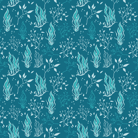 lineart: Vector Sea Blue Underwater Plants Lineart Seamless Pattern graphic design Illustration