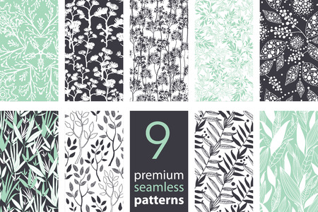 black pattern: Vector 9 Branches Set Seamless Pattern graphic design Illustration