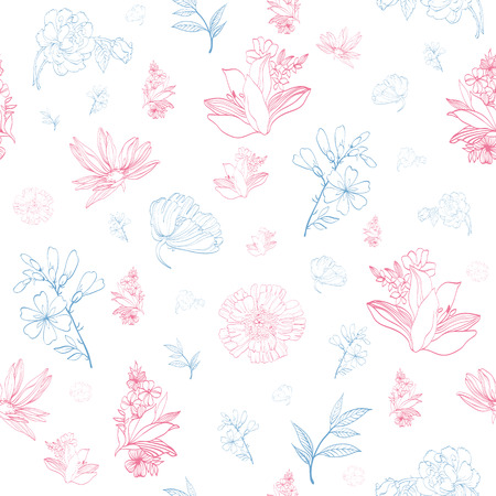feminine beauty: Vector Pastel Pink Blue Japanese Asian Floral Seamless Pattern graphic design