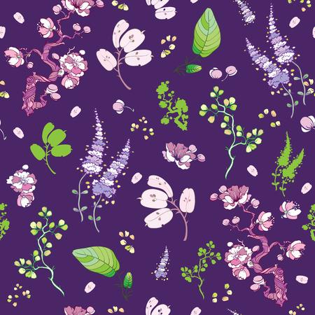 tile pattern: Vector Purple Green Japanese Kimono Floral Seamless Pattern graphic design