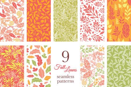 Vector Fall Leaves 9 Set Seamless Patterns grafisch ontwerp