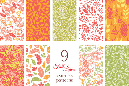 fall leaves: Vector Fall Leaves 9 Set Seamless Patterns graphic design