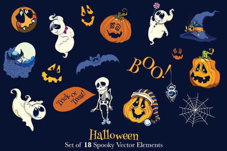 assemblage: Skeleton, pumpkin, ghost, hat, spider, web, spider web, Vector 18 Halloween Elements Set Seamless Pattern graphic design