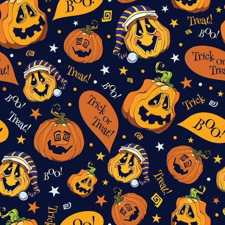 Vector Boo Pumpkins Halloween Seamless Pattern graphic design
