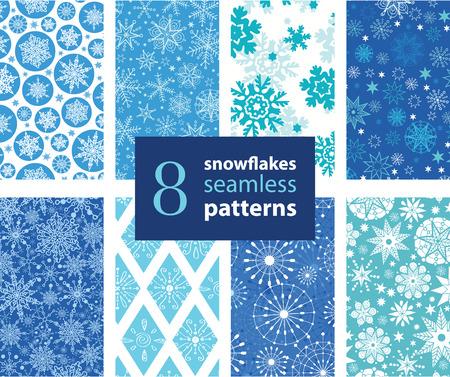 Vector Snowflakes Hand Drawn 8 Set Seamless Pattern graphic design. snow, snowflake, blizzard, detailed, .