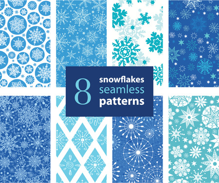 blizzard: Vector Snowflakes Hand Drawn 8 Set Seamless Pattern graphic design. snow, snowflake, blizzard, detailed, .