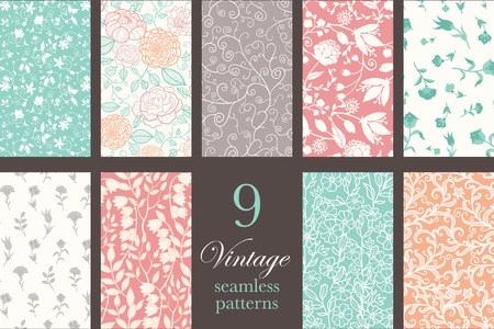 pastel flowers: Twirl, swirl, folk, tribal, detailed. Vector Vintage Floral Elegant 9 Set Seamless Pattern graphic design