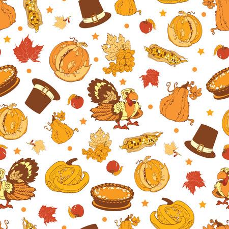 Vector Cornucopia Thanksgiving Pumpkin Turkey Corn Seamless Pattern graphic design