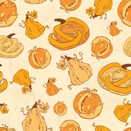 ベクトル秋カボチャ収穫のシームレスなパターンです。パンプキン パッチ。オープン カボチャ グラフィック デザイン