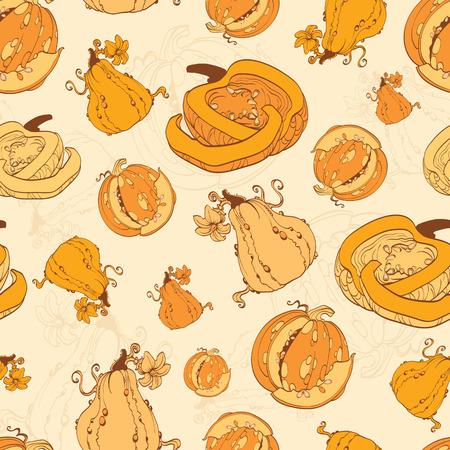 Patrón Vector Calabazas de otoño de la cosecha sin fisuras. Huerto de calabazas. Diseño gráfico abierto calabaza Foto de archivo - 44205759