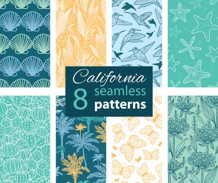 cadet blue: Vector California Nature 8 Set Seamless Pattern.