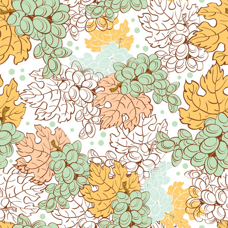 Vector Fall Grapes Harvest Seamless Pattern graphic design