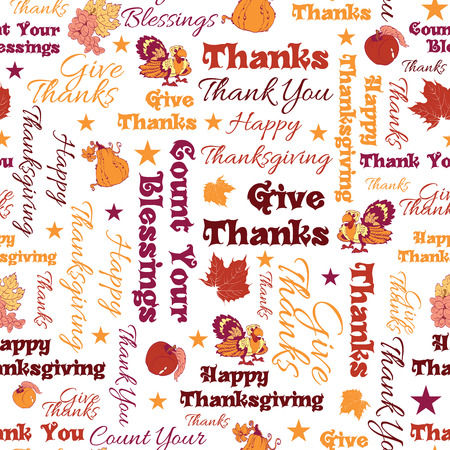 give thanks to: Vector Happy Thanksgiving Text Seamless Pattern graphic design