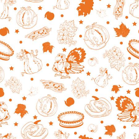 family line: Vector Cornucopia Thanksgiving Pumpkin Turkey Corn Seamless Pattern graphic design