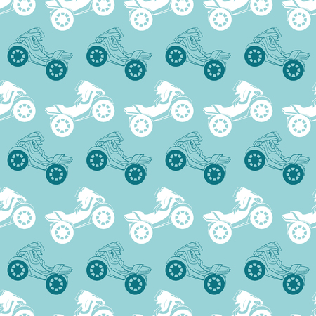 stripes seamless: Vector Motorcycles Blue Brown Stripes Seamless Pattern. Riding on One Wheel Motorbike graphic design