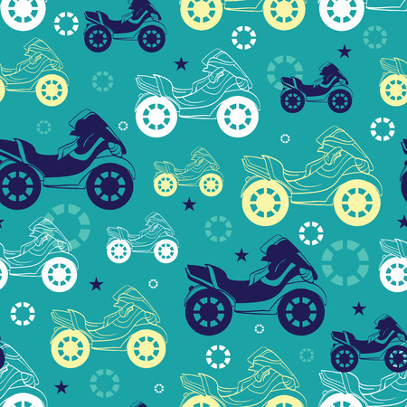 Vector Motorcycles Blue Green Yellow Seamless Pattern. Motorkbike Biker Sport graphic design